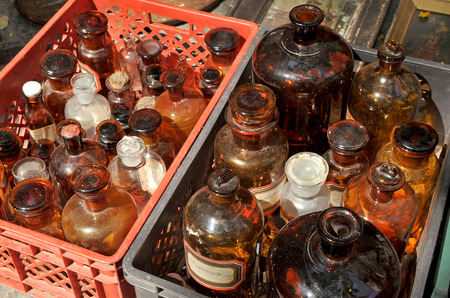 resale: Old pharmacy glass bottles, flea market