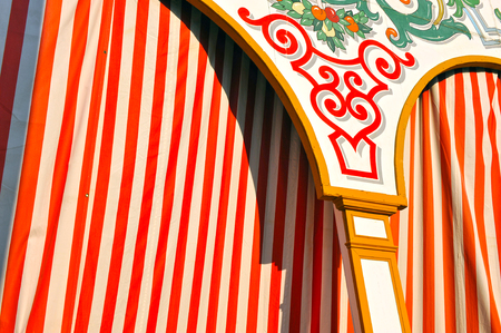 fiesta popular: Facade of a stand (caseta) in the Seville Fair, Feast in Spain
