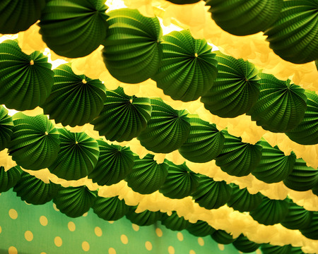 Spanish fiesta, Fair in Seville, paper lanterns, inside caseta Stock Photo