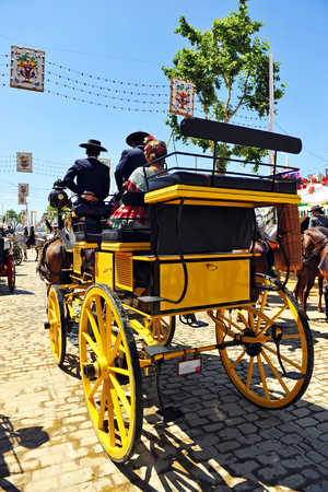 horse and carriage: Horse carriage at Seville Fair, Feast in Andalusia