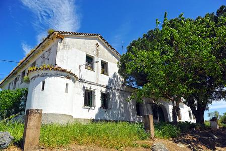 headquarters: Abandoned headquarters of the Civil Guard, Aljucen, Extremadura, Spain Stock Photo