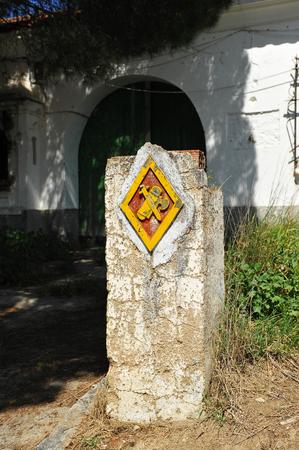 extremadura: Old abandoned headquarters of the Civil Guard, Aljucen, Extremadura, Spain Stock Photo