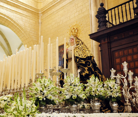our lady of sorrows: Our Lady of Sorrows at Holy Week in Osuna, Sevilla, Spain