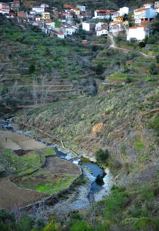 Huetre village, Hurdano River Valley, Las Hurdes, Caceres Province, Extremadura, Spain