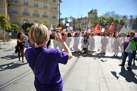 demonstration: Demonstration on the day of working women, Seville, Spain Editorial