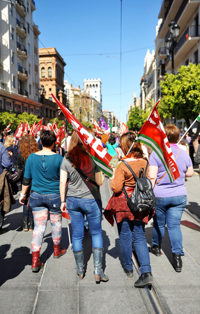 syndicate: Demonstration through the streets of Seville celebrating the day of working women, in April 2014, Spain