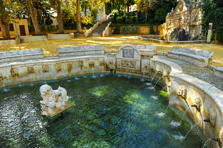 king neptune: Fountain of the King, Fuente del Rey, Priego de Cordoba, Andalusia, Spain Stock Photo