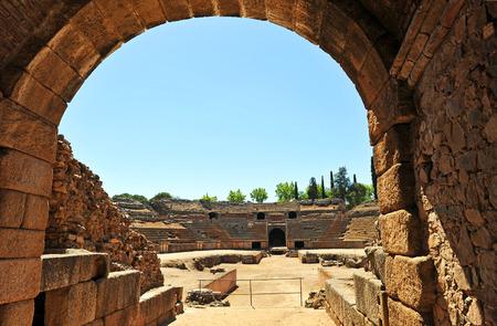 roman amphitheater: Roman amphitheater of Emerita Augusta, Merida, Badajoz Province, Extremadura, Spain