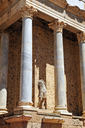 augusta: Scene of the Roman theater of Emerita Augusta, Merida, Province of Badajoz, Extremadura, Spain