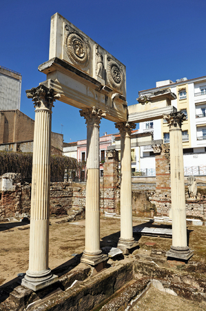 augusta: Municipal Roman Forum of Emerita Augusta, Merida, Extremadura, Spain Stock Photo