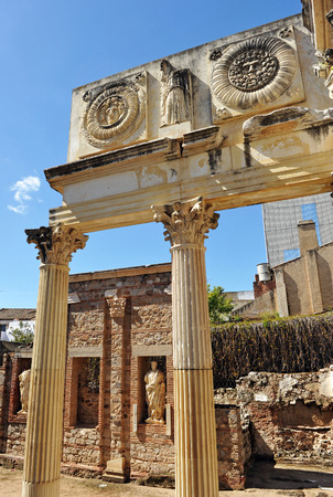 badajoz: Municipal Roman Forum of Emerita Augusta, Merida, Extremadura, Spain Stock Photo