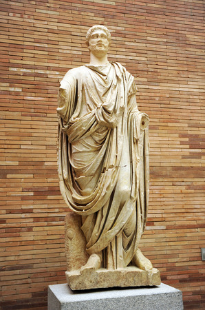 Sculpture of a robed Roman citizen, Museum of Roman Art in Merida, Extremadura, Spain