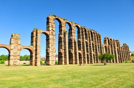 augusta: Ruins of the Roman Aqueduct of the Miracles, Emerita Augusta, Merida, Spain Stock Photo