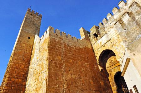 donjon: Alcazar de la Puerta de Sevilla, Alcazar of the Door of Seville, monumental city of Carmona, Seville province, Andalusia, Spain Editorial