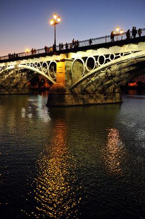 romantics: The romantic Triana bridge at sunset, Seville, Andalusia, Spain, Europe
