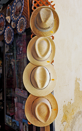 typical: Shop straw hats typical Andalusia