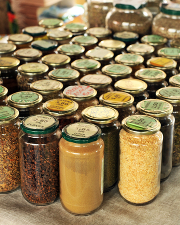 southwest asia: Selling spices to flavor food at a flea market