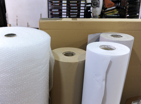 fine arts: Rolls of paper and plastic, stationery, store material for Fine Arts Stock Photo