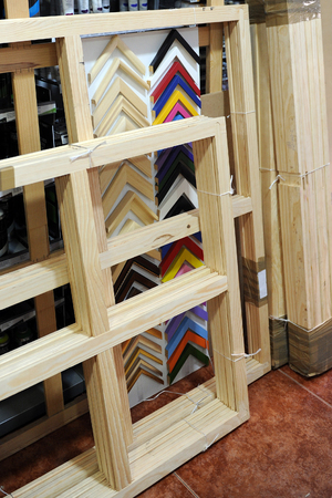 fine arts: Shop of material for fine arts, wooden racks for painting on canvas Stock Photo