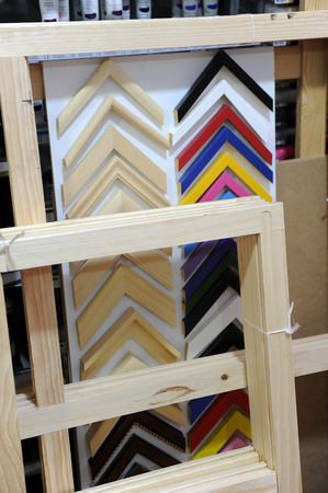 fine arts: Trade of material for fine arts, wooden racks for painting on canvas