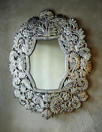 silvery: Decoration detail, mirror with silvery frame