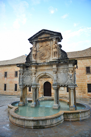 santa maria: Santa Maria fountain, Baeza, Province of Jaen, Andalusia, Spain Stock Photo