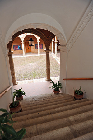 old mercury: Main staircase, Fugger warehouse, Cloister of the Palace of Fucares, Almagro, province of Ciudad Real, Spain