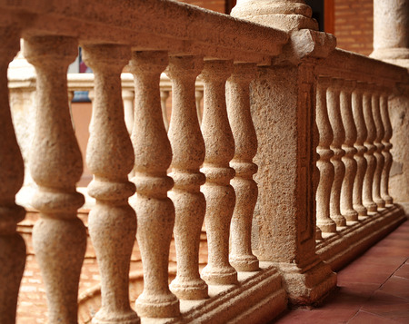 old mercury: A stone balustrade in the Palace of Fucares, Almagro province of Ciudad Real, Spain