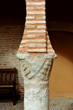 almagro: National Theatre Museum in Almagro, detail of one of the columns of the cloister, province of Ciudad Real, Spain