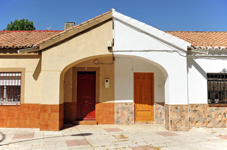 detached houses: Asymmetrical symmetry, two semi detached houses, popular architecture, Puertollano, Spain Stock Photo