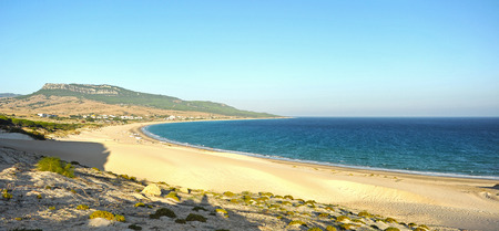 Panoramic view of the Bay of Bolonia, Costa de la Luz, province of Cadiz, Andalusia, Spain