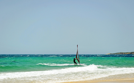 Windsurfing in Tarifa, Cadiz province, Spain, Southern Europe Stock Photo