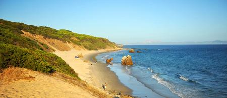 Strait natural park,  panoramic view of the Tarifa beaches, Costa de la Luz, Cadiz province, Andalusia, Spain