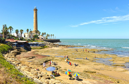 Chipiona beach with its famous lighthouse, Costa de la Luz, Cadiz province, Spain Stock Photo