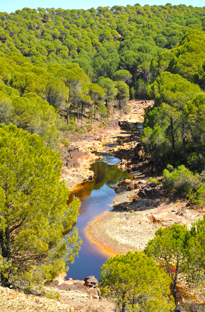 polluted river: Landscape of the Tinto River, polluted by mining waters, Huelva province, Spain Stock Photo