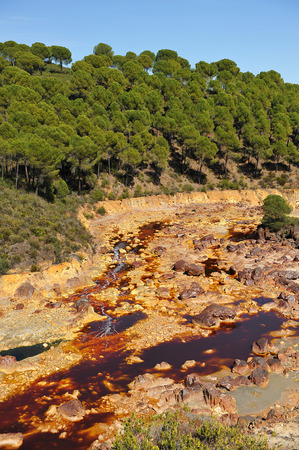 Tinto River, Rio Tinto, water contaminated by mining, province of Huelva, Andalusia, Spain