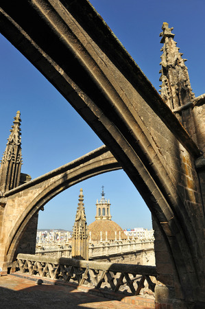 Tourist visit to the decks of the Cathedral of Seville, Gothic architecture, Andalusia, Spain Stock Photo