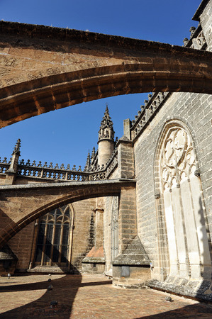 gothic architecture: Tourist visit to the decks of the Cathedral of Seville, Gothic architecture, Andalusia, Spain Stock Photo