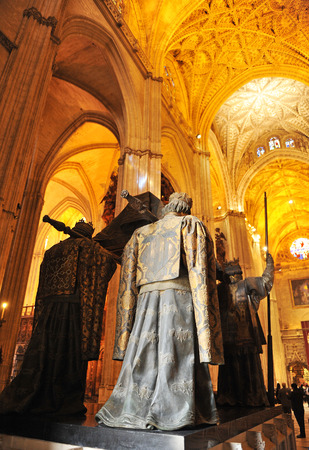 The tomb of Christopher Columbus in the cathedral of Seville, Andalusia, Spain