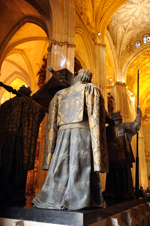 christopher: The tomb of Christopher Columbus in the cathedral of Seville, Andalusia, Spain