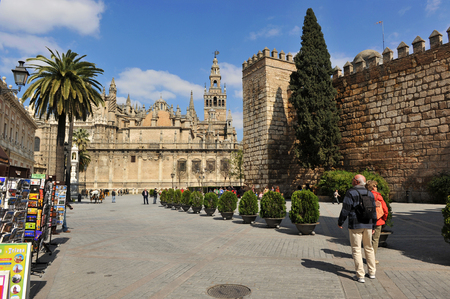 Cathedral and Alcazar of Seville,  Plaza of Triomphe, Andalusia, Spain