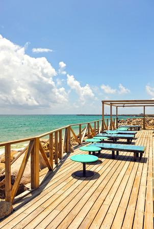 formosa: Terrace bar on the shore of the beach, island of Culatra Island, Algarve, southern Portugal, Europe Stock Photo