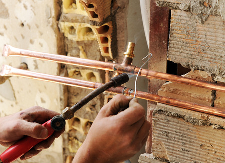 brazing: Soldering whit torch the pipes of copper