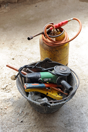 blowtorch: Plumber tools, gas blowtorch Stock Photo