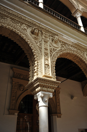 plasterwork: Tourism in Seville, House of Pinelo, Renaissance courtyard, Andalusia, Spain