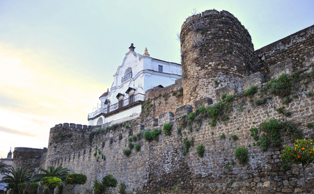 Medieval walls of Plasencia at dusk, province of Caceres, Extremadura, Spain