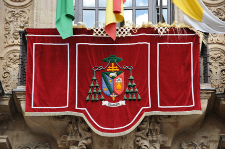 archbishop: Balcony of the Archbishop Palace, Holy Week in Seville, Andalusia, Spain