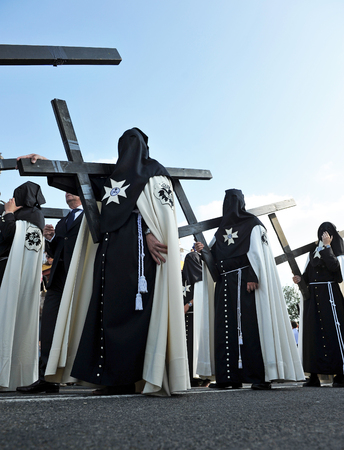 semana: Holy Week in Seville (Semana Santa), Nazarenes with crosses of penance, Andalusia, Spain