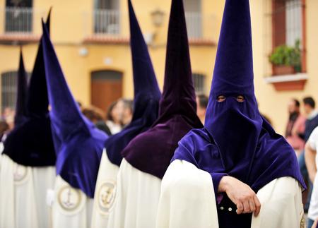 Nazarenes, Holy Week in Seville, brotherhood of hope, Andalusia, Spain