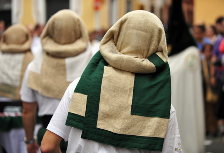 holy week in seville: Porters, costaleros, Holy Week procession in Seville, Andalusia, Spain Stock Photo